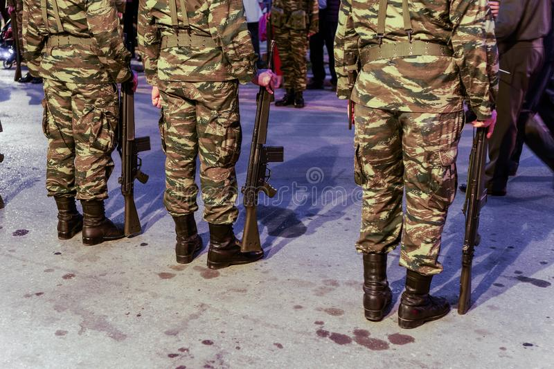 Thessaloniki, Greece Greek Army soldiers in combat uniform, holding a G3A4 rifle. stock photography