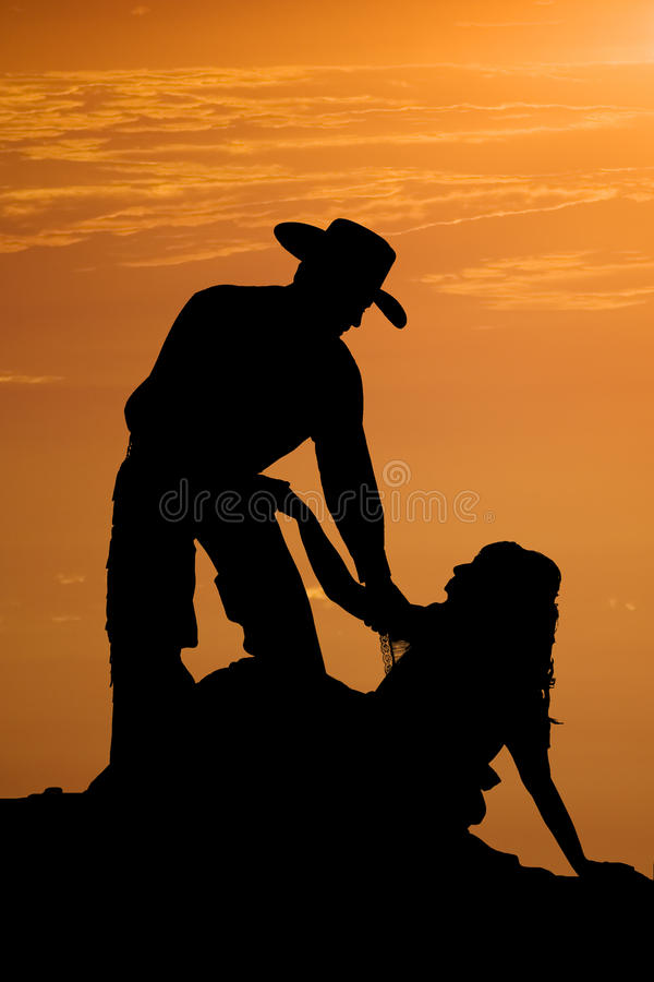 Silhouette helping up
