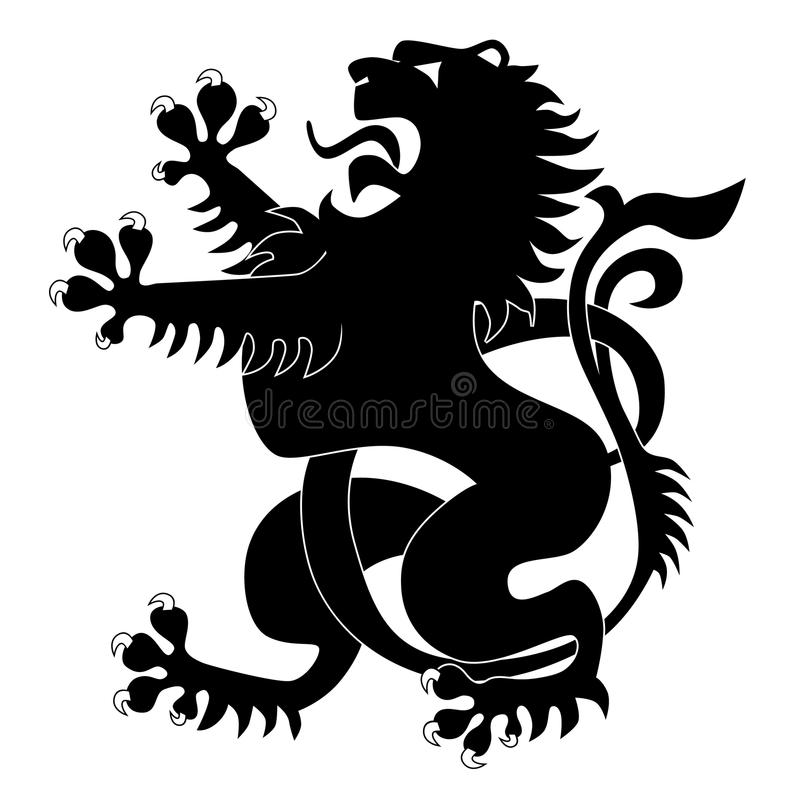 Silhouette of heraldic lion royalty free illustration