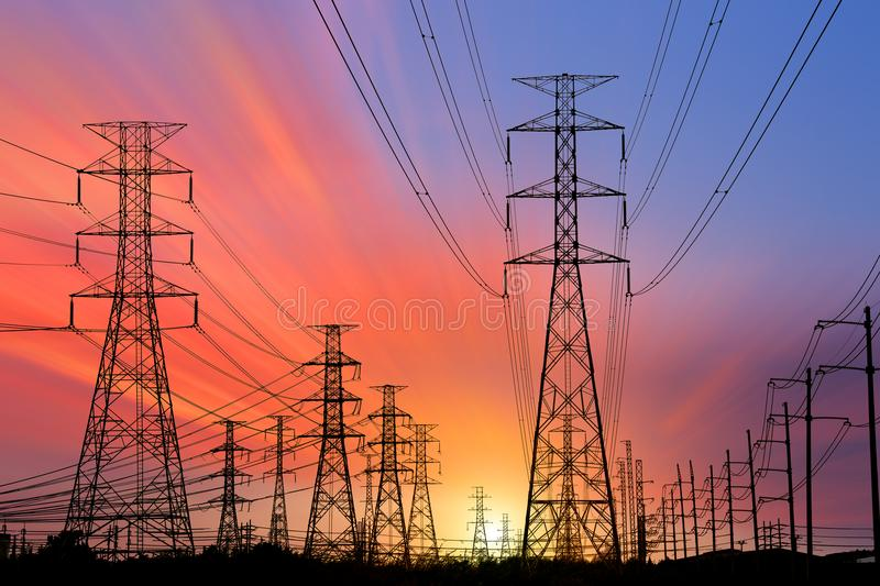 Silhouette High voltage electric tower royalty free stock images