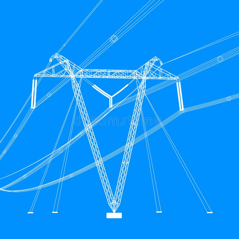 Silhouette of high voltage power lines. Vector  illustration royalty free stock photos