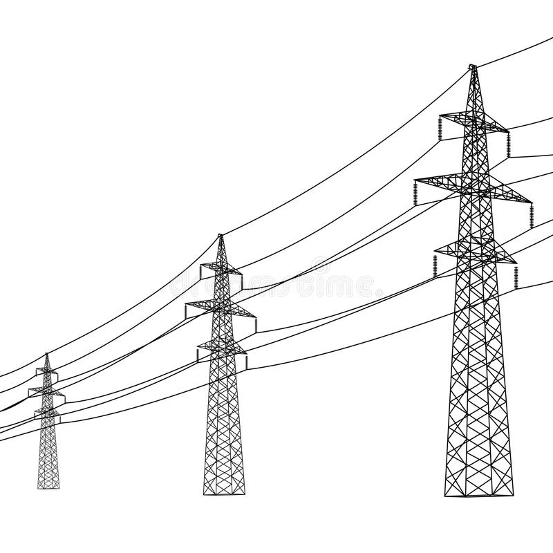 Silhouette of high voltage power lines. royalty free illustration