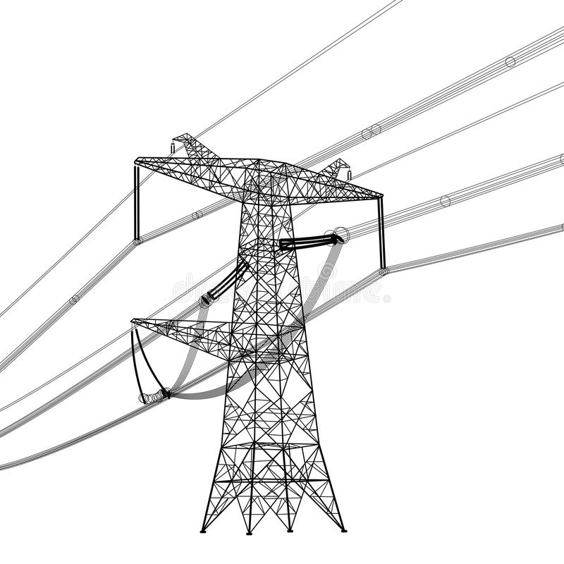 Silhouette of high voltage power lines. Vector vector illustration