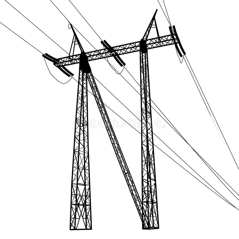Silhouette of high voltage power lines. Vector royalty free illustration