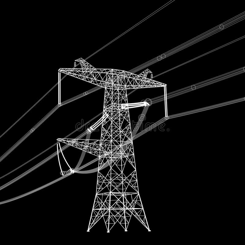Silhouette of high voltage power lines. Vector illustration royalty free illustration