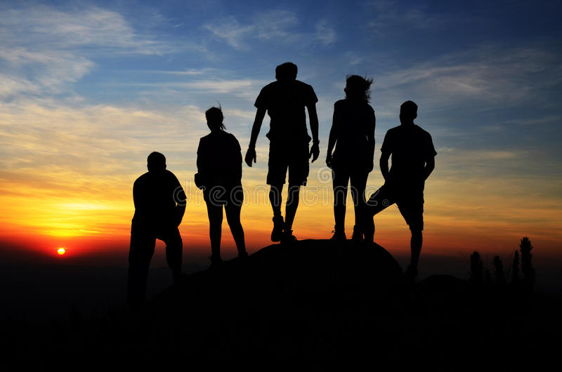 Silhouette of a hikers group. Hikers group living an adventure at the top of a mountain Morro Capivari at Campina Grande do sul Brazil stock image