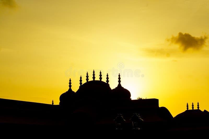 Silhouette of hindu temple at nahargarh Jaipur royalty free stock image