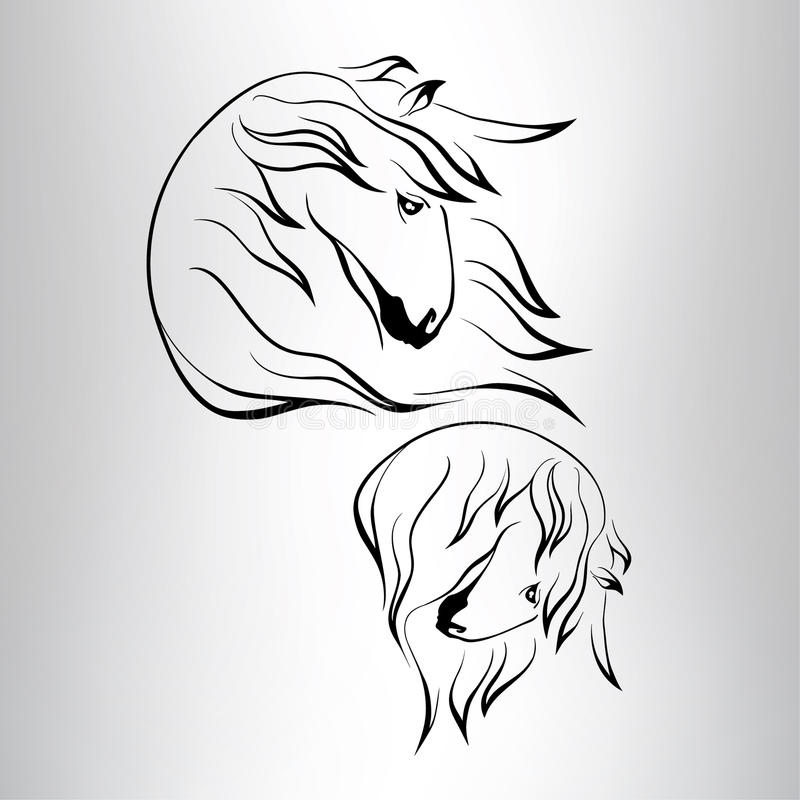 Download Silhouette Of A Horse's Head. Vector Illustration Stock Vector - Illustration of element, drawing: 37677312