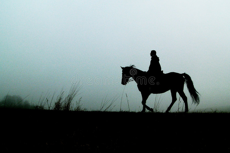 Silhouette of horse with woman. In mist in autumn royalty free stock image