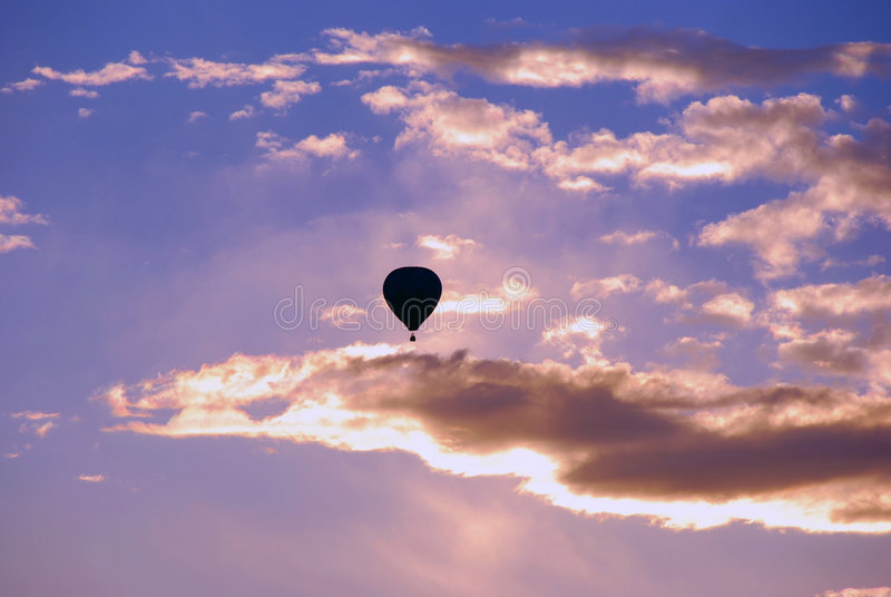 Silhouette of hot air balloon royalty free stock photos