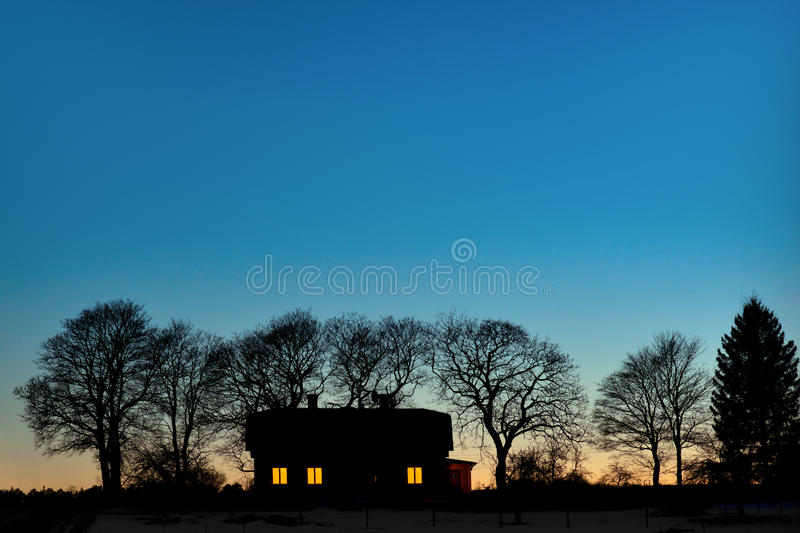Silhouette of house stock photo
