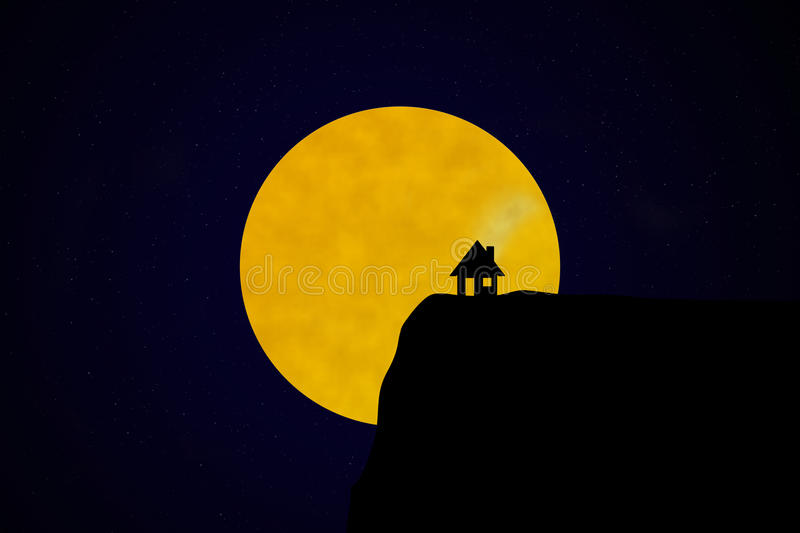 Silhouette of house in front of starry night sky with moon. A silhouette of a house on a cliff, lit by the moon and the stars in the night sky