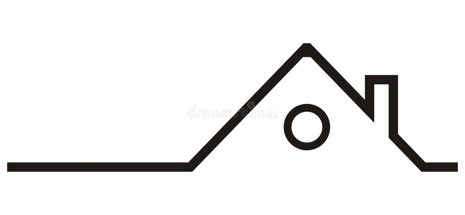 Silhouette of house, roof with smokestack, vector icon royalty free illustration