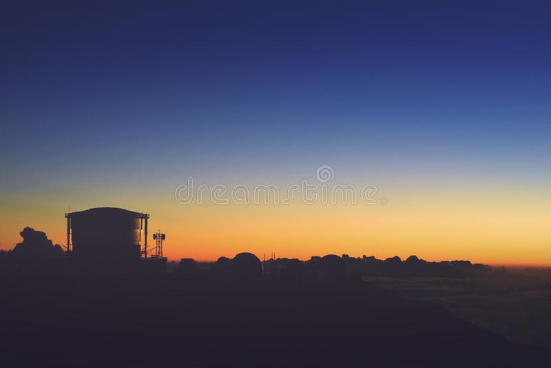 Silhouette of House After Sunset stock images