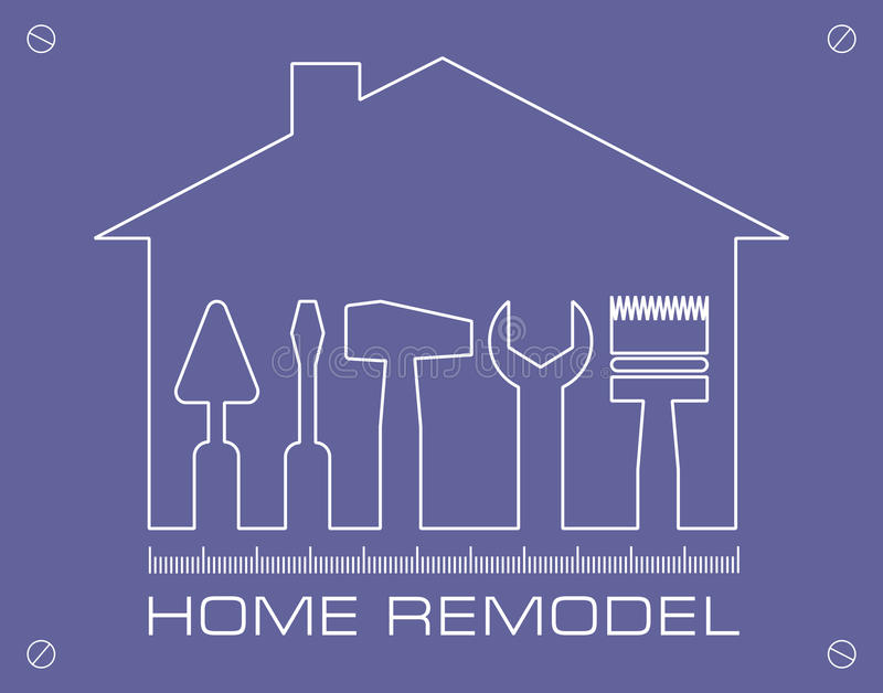 Silhouette of a house with tools for repair. Logo home remodel. vector illustration