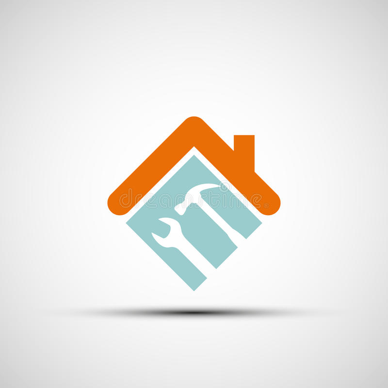 Silhouette of a house with a wrench and a hammer. stock illustration