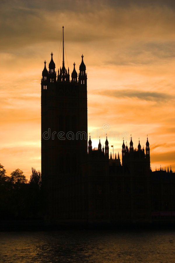 Silhouette Of The Houses Of Parliament Royalty Free Stock Photo