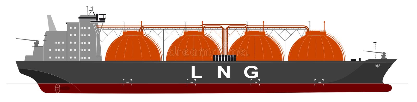 Silhouette of a huge ocean tanker for liquefied gas. Traced details. Side view. Silhouette of a huge ocean tanker for liquefied gas. Traced details stock illustration