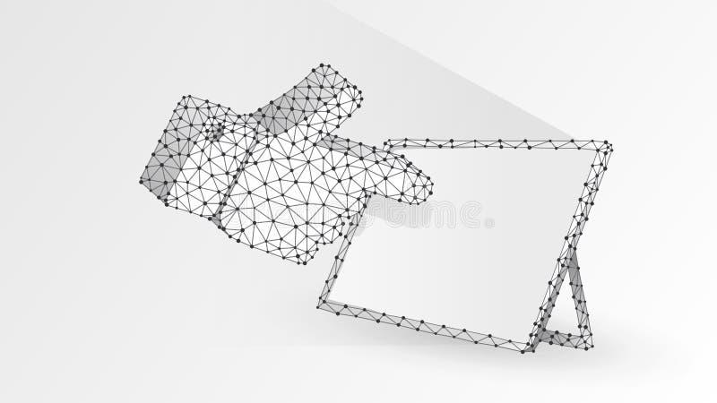 Silhouette humaine de main se dirigeant sur un écran blanc de comprimé Écran tactile, concept de clic de doigt Résumé, wireframe  illustration stock