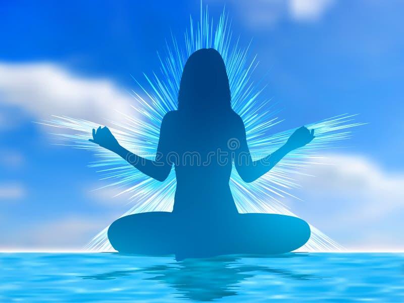 Silhouette humaine méditant. ENV 8 illustration stock