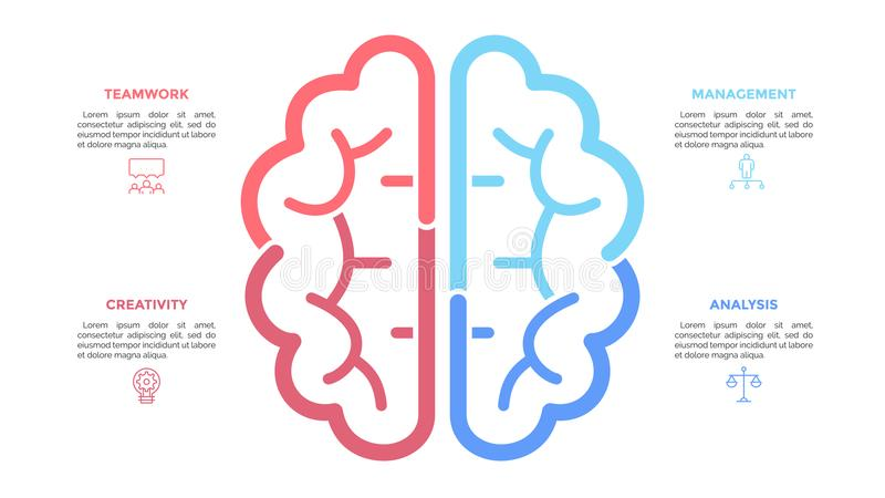 Silhouette of human brain drawn with colorful lines, linear icons and text boxes. Concept of brainstorming, modern stock illustration