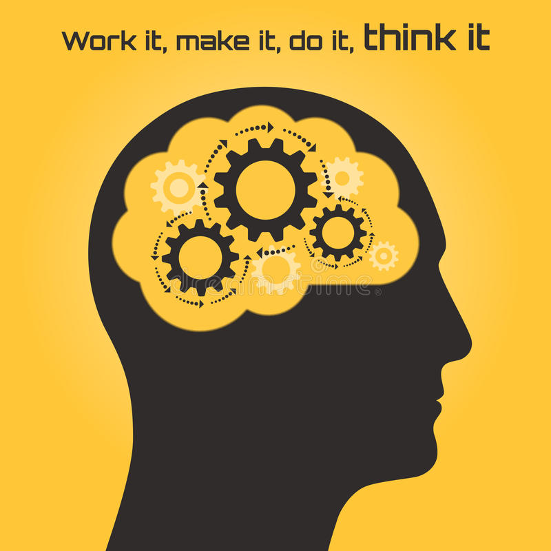 Silhouette of a human head with the brain and gears royalty free illustration