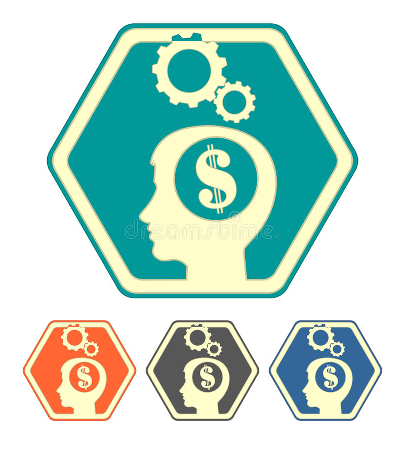 The silhouette of a human head with dollar set royalty free illustration