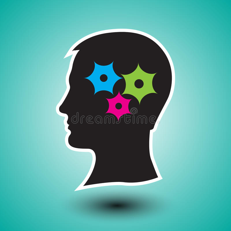 Silhouette of human head with gears.Problem solving process. stock illustration