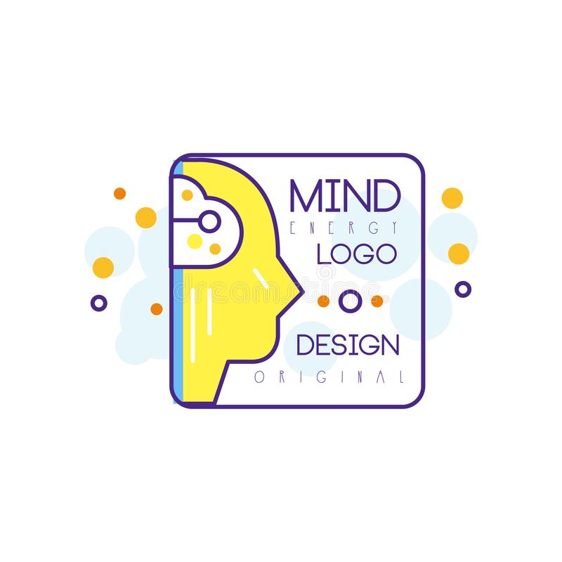 Silhouette of human head in outline style with yellow fill. Mind energy and creative idea. Abstract vector logo for stock illustration