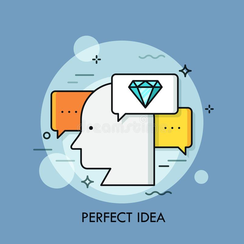 Silhouette of human head surrounded by speech bubbles and diamond symbol. Concept of perfect idea generation, brilliant stock illustration