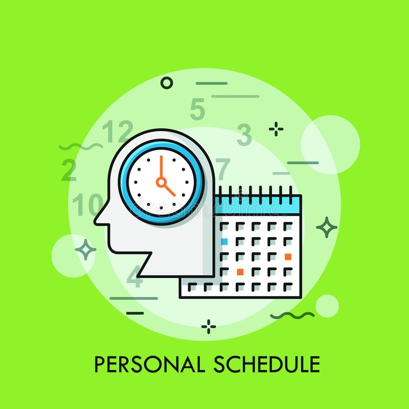Silhouette of human head with watch and calendar. Personal schedule, daily planner, business appointment planning, task royalty free illustration