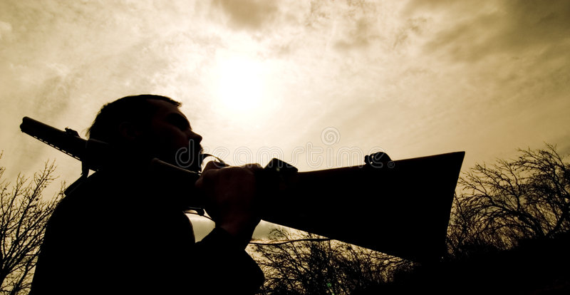 Download Hunter silhouette stock photo. Image of silhouette, carries - 2532366
