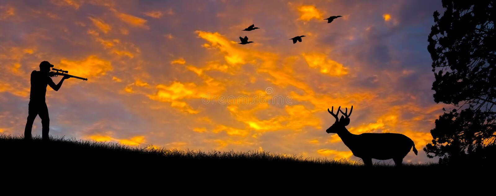Rifle Hunting Silhouette stock image