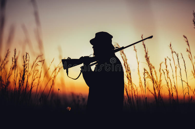 silhouette of hunter carrying shotgun on shoulder and observing royalty free stock images