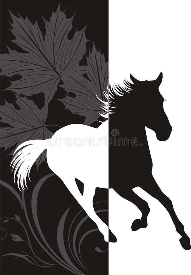 Silhouette Of Hurrying Horse Stock Photography
