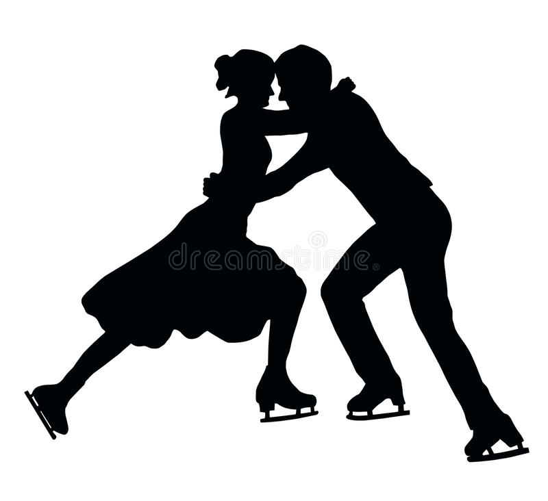 Silhouette Ice Skater Couple Embrace royalty free stock photography