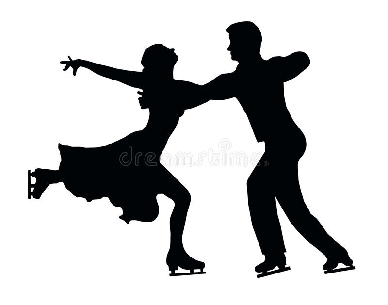 Silhouette Ice Skater Couple Embrace Back Kick stock photo