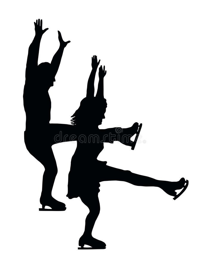 Download Silhouette Ice Skater Couple Front Kick Stock Vector - Illustration: 22333393