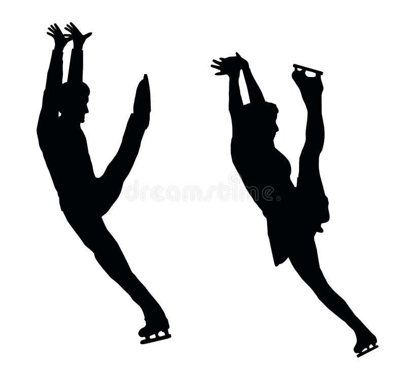 Silhouette Ice Skater Couple High Kick royalty free stock photos