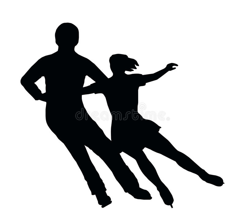 Silhouette Ice Skater Couple Side by Side Turn stock photos