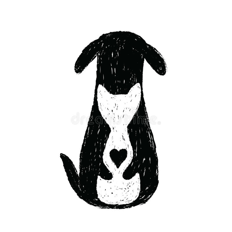 Silhouette icon of cat and dog friendship. Puppy and kitten hugs stylized illustration