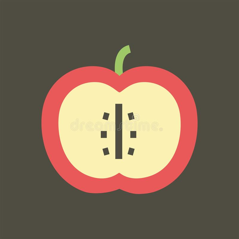 Simple vector illustration with ability to change. Silhouette icon sliced apple royalty free illustration