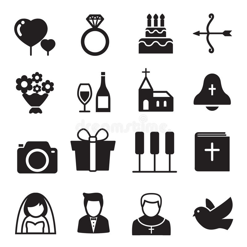 Silhouette icons Wedding, bride and groom, love, celebration. stock illustration