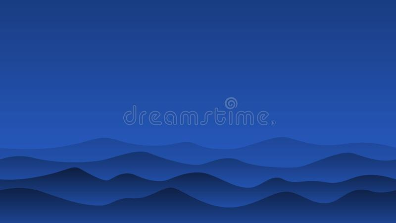 Illustration of night hill silhouette landscape stock illustration