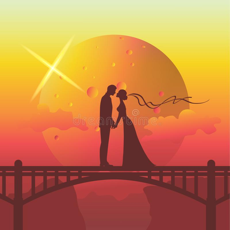 Silhouette illustration of romantic couple kissing on the bridge. Unique environment design vector illustration