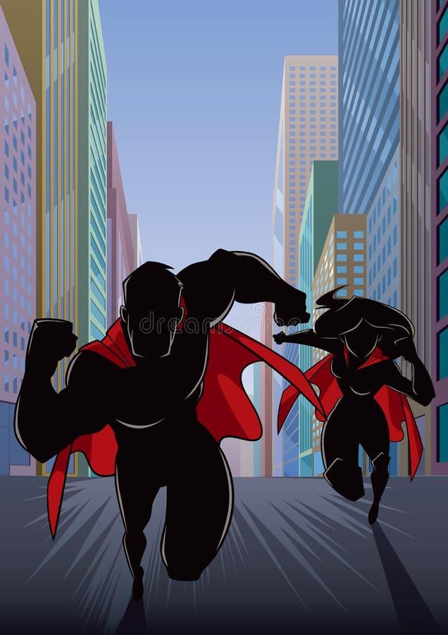 Superhero Couple Running Hero Leads Silhouette stock illustration