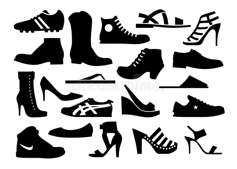 Silhouette of various shoes stock illustration