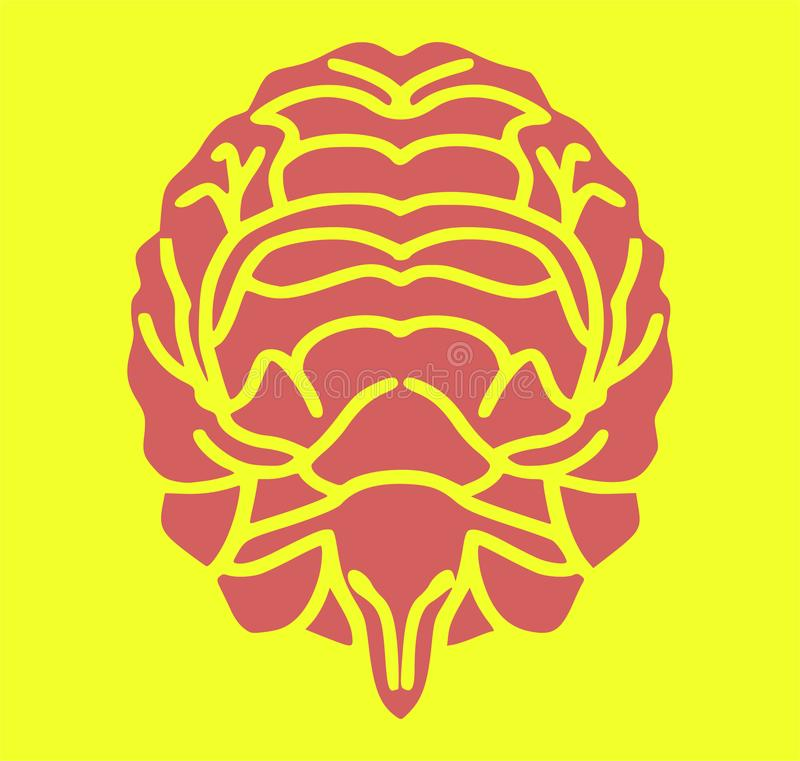 Brain and sheep / deer silhouette symbol royalty free illustration