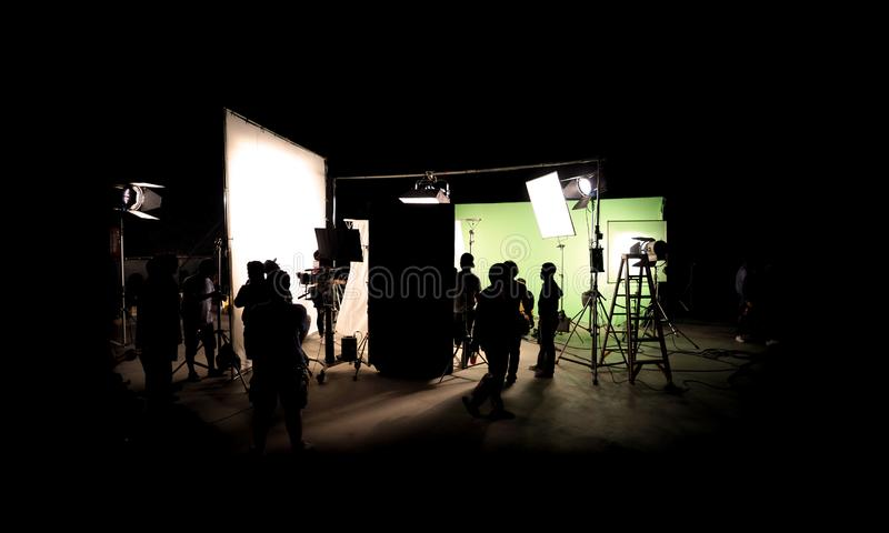 Silhouette images of video production behind the scenes royalty free stock photos