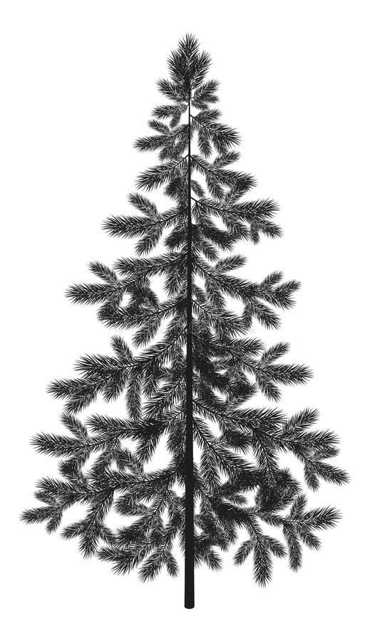 Silhouette impeccable d'arbre de sapin de Noël illustration de vecteur